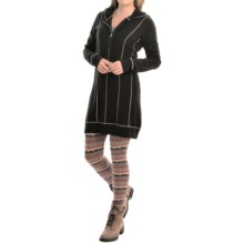 Aventura Clothing Olive Hooded Tunic Sweater - Modal, Zip Neck (For Women) in Black - Closeouts