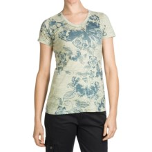 Aventura Clothing V-Neck Burnout T-Shirt - Short Sleeve (For Women) in Icy Green Butterfly - Closeouts