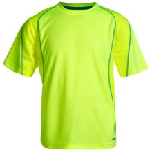 Avia High-Performance T-Shirt - UPF 25, Crew Neck, Short Sleeve (For Little and Big Boys) in Safety Yellow/Blue Aster - Closeouts
