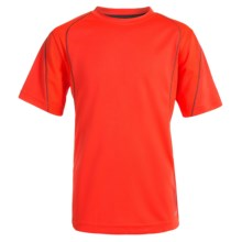 Avia High-Performance T-Shirt - UPF 25, Crew Neck, Short Sleeve (For Little and Big Boys) in Shock Orange/Dark Grey - Closeouts