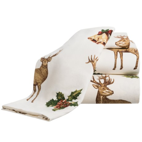 Azores Deer Flannel Sheet Set - King in Ivory / Brown