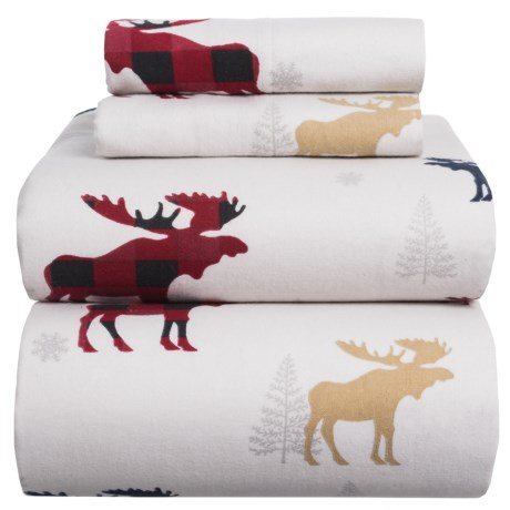 Azores Flannel Printed Moose Sheet Set - Full in White / Red