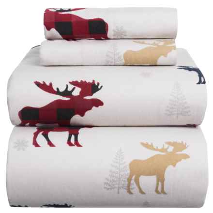 Azores Flannel Printed Moose Sheet Set - King in White / Red - Closeouts