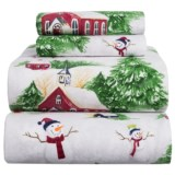 Azores Flannel Printed Snowman Sheet Set - Queen
