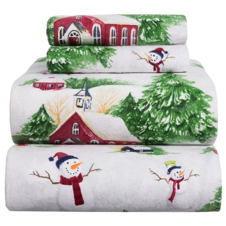 Azores Flannel Printed Snowman Sheet Set - Queen in White / Red