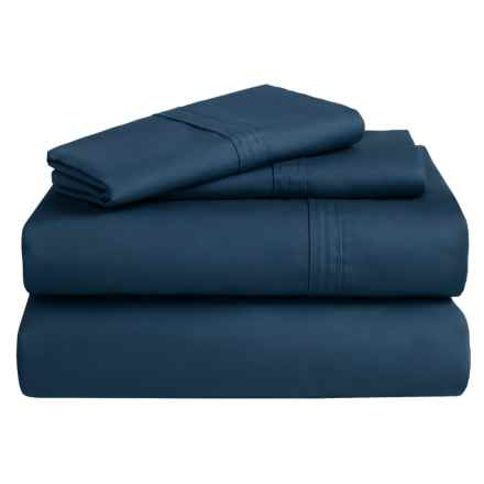 Azores Home 300 TC Cotton Percale Sheet Set - California King, Deep Pocket in Midnight Blue - Overstock