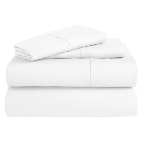 Azores Home 300 TC Cotton Percale Sheet Set - Full, Deep Pocket in White