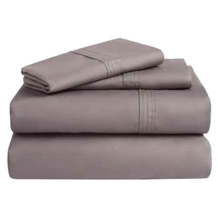 Azores Home 300 TC Cotton Percale Sheet Set - Queen, Deep Pocket in Grey - Overstock