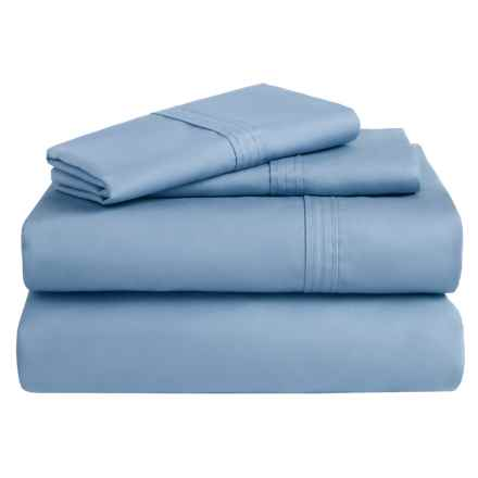 Azores Home 300 TC Cotton Percale Sheet Set - Queen, Deep Pocket in Sky Blue - Overstock