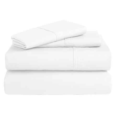 Azores Home 300 TC Cotton Percale Sheet Set - Queen, Deep Pocket in White - Overstock
