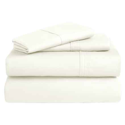 Azores Home 300 TC Cotton Percale Sheet Set - Twin, Deep Pocket in Ivory - Overstock