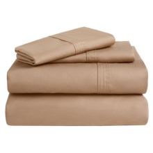 Azores Home 300 TC Cotton Percale Sheet Set - Twin XL, Deep Pocket in Coffee - Overstock