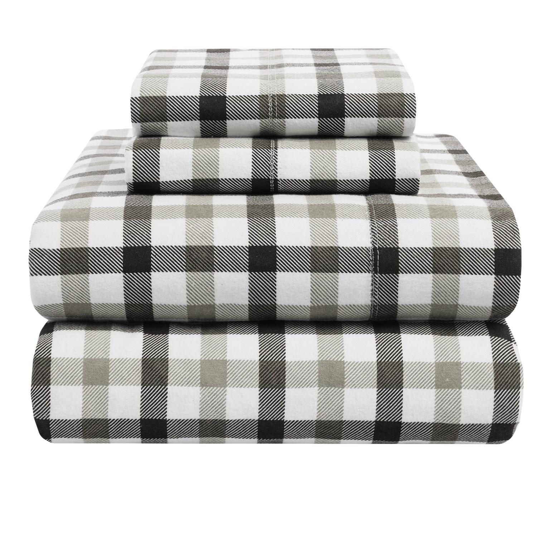 Azores home 5 9 oz flannel plaid sheet set king deep for 9 oz flannel shirt