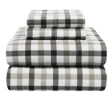 Azores Home 5.9 oz. Flannel Plaid Sheet Set - Queen, Deep Pocket in Black/Grey - Overstock