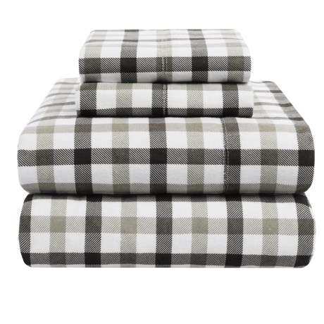 Azores Home 5.9 oz. Flannel Plaid Sheet Set Queen, Deep Pocket