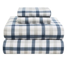 Azores Home 5.9 oz. Flannel Plaid Sheet Set - Queen, Deep Pocket in Dusty Blue - Overstock