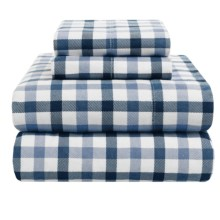 Azores Home 5.9 oz. Flannel Plaid Sheet Set - Queen, Deep Pocket in Navy - Overstock