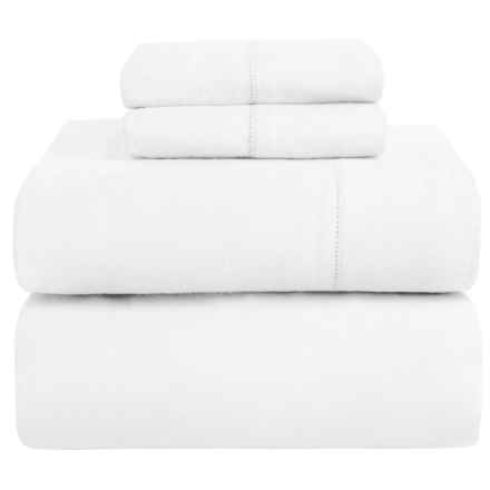 Azores Home Heavyweight Flannel Sheet Set - King, 200gsm Cotton in White - Closeouts