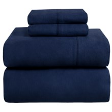 Azores Home Heavyweight Flannel Sheet Set - Queen, 200gsm Cotton in Midnight Blue - Closeouts