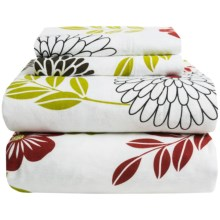 Azores Home Printed Floral Flannel Sheet Set - Full, Deep Pockets in Floral - Overstock