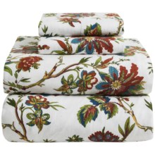 Azores Home Printed Floral Flannel Sheet Set - Twin, Deep Pockets in Rainforest - Overstock