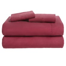 Azores Home Solid Flannel Sheet Set - Full, Deep Pockets in Dark Red - Overstock