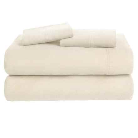 Azores Home Solid Flannel Sheet Set - Full, Deep Pockets in Ivory - Overstock