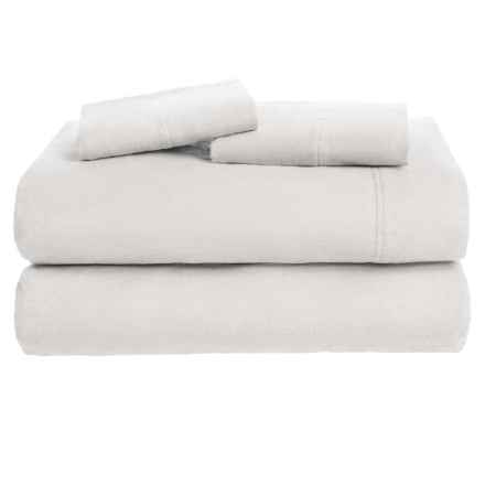 Azores Home Solid Flannel Sheet Set - Queen, Deep Pockets in Silver Grey - Overstock