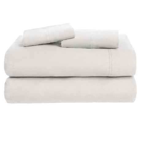 Azores Home Solid Flannel Sheet Set - Queen, Deep Pockets in Silver Grey