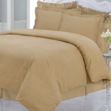 Azores Home Solid Heavyweight Flannel Duvet Set - King, 200gsm Cotton in Cappuccino - Closeouts