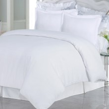 Azores Home Solid Heavyweight Flannel Duvet Set - King, 200gsm Cotton in White - Closeouts