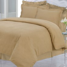 Azores Home Solid Heavyweight Flannel Duvet Set - Queen, 200gsm Cotton in Cappuccino - Closeouts