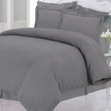 Azores Home Solid Heavyweight Flannel Duvet Set - Queen, 200gsm Cotton in Grey - Closeouts