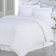 Azores Home Solid Heavyweight Flannel Duvet Set - Queen, 200gsm Cotton in White - Closeouts