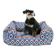 """Aztec Lounger Dog Bed - 28x22"""" in Blue - Closeouts"""