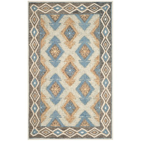 Image of Aztec-Pattern Blue and Beige Area Rug - 5x8? Micro-Pile Wool