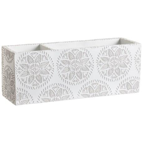 Azzure Matte Floral Multipurpose Desktop Sorter in White