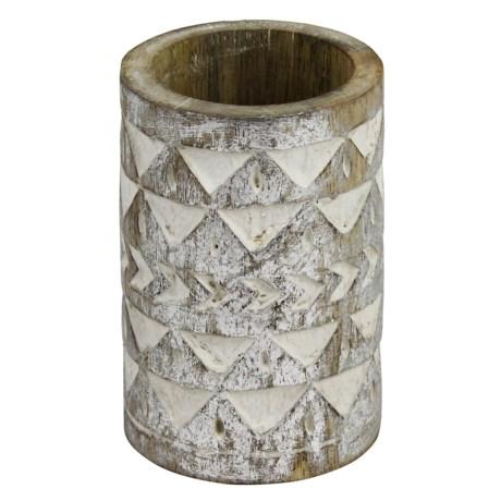 "Azzure Metallic Chevron Pencil Cup - 4-1/2"" in Silver"