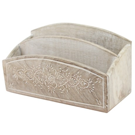 Azzure Natural Painted & Carved Henna Letter Sorter in White