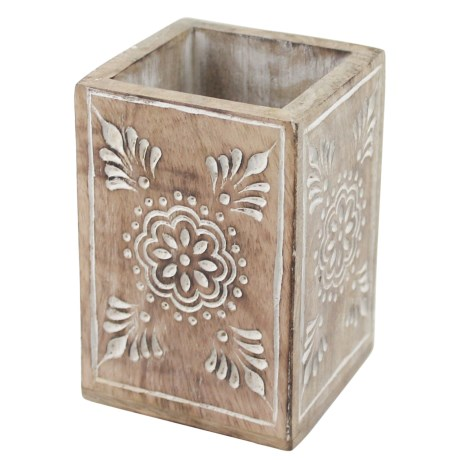 Azzure Natural Painted Carving Henna Pencil Cup in White