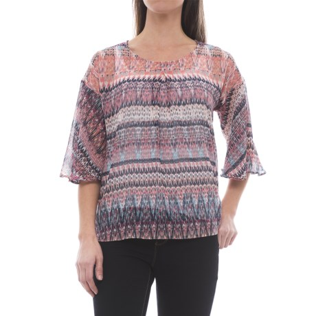 B Collection by Bobeau Bell Sleeve Blouse - Semi-Sheer, Elbow Sleeve (For Women) in Berry