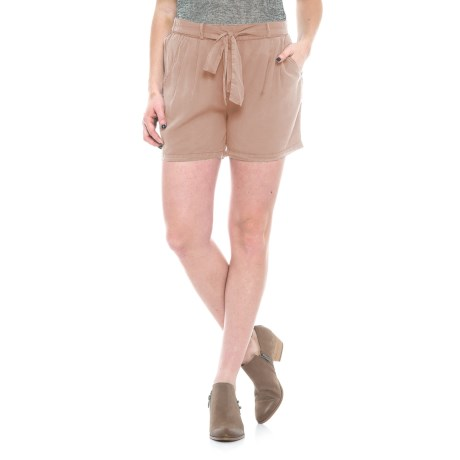 B Collection by Bobeau Bianca Belted Shorts (For Women) in Taupe