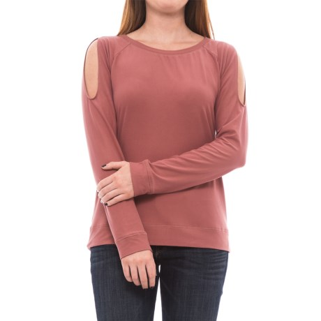 B Collection by Bobeau Cold Shoulder Shirt - Long Sleeve(For Women) in Berry