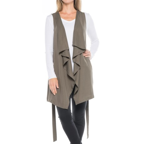 B Collection by Bobeau Elsie Waterfall Tunic Vest (For Women) in Olive