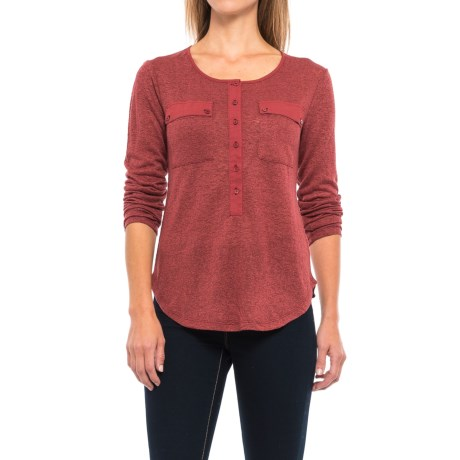 B Collection by Bobeau Finn Henley Shirt - Semi-Sheer, Long Sleeve (For Women) in Spice