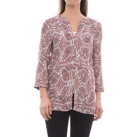 B Collection by Bobeau Hadil Tunic Shirt - 3/4 Sleeve (For Women) in Leafy Print