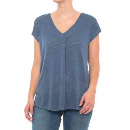 B Collection by Bobeau Janet Front Pleat Shirt - Short Sleeve (For Women) in Dusty Blue - Closeouts