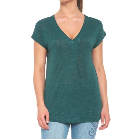 B Collection by Bobeau Janet Front Pleat Shirt - Short Sleeve (For Women) in Jade