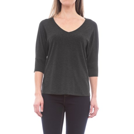 B Collection by Bobeau Mallory Dolman Sleeve Shirt - 3/4 Sleeve (For Women) in Charcoal Grey