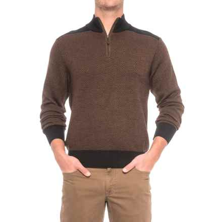 Baby Alpaca Gents Herringbone Sweater - Zip Neck (For Men) in Black - Closeouts
